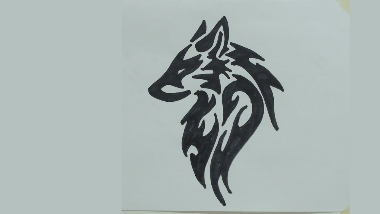 how to draw wolf head tribal tattoo 2 youtube
