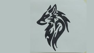 How to draw wolf head tribal tattoo #2