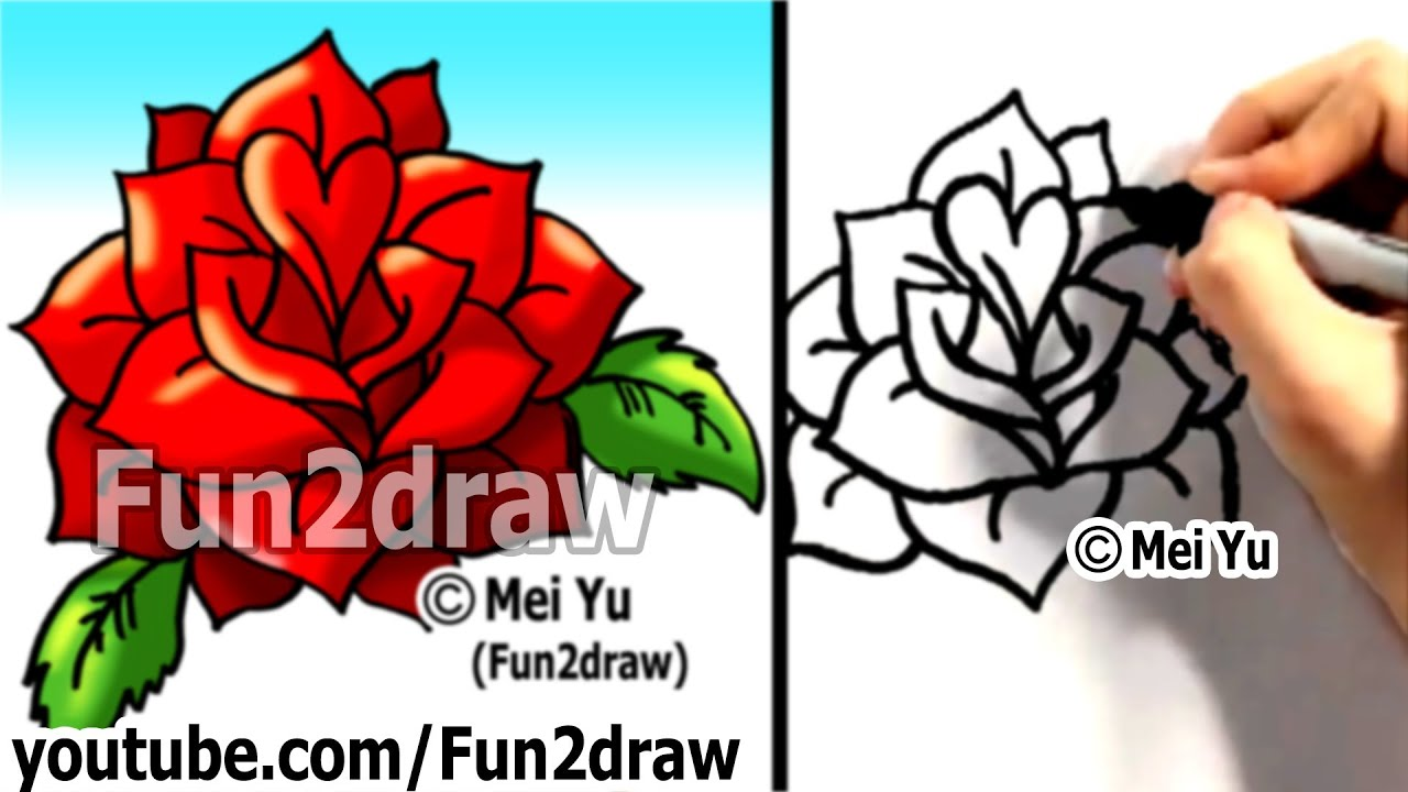 How To Draw A Rose Under 2 Min  How To Draw Easy Things Step By Step   Fun2draw Drawing Lessons