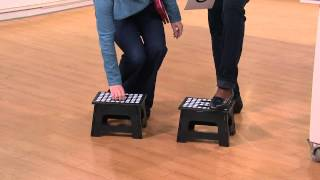 Kikkerland Set of 2 Easy-Fold and Easy-Store Step Stools with Rachel Boesing