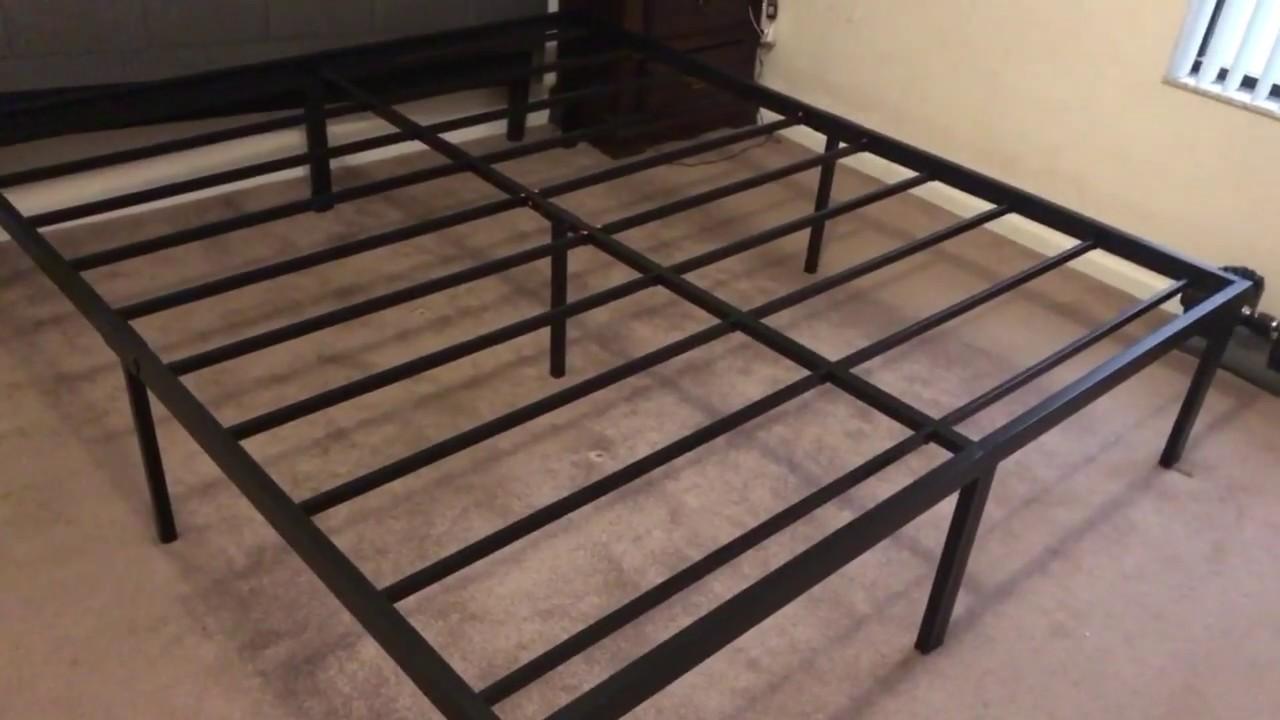 SLEEPLACE heavy duty 18 inch steel frame slat bed frame - YouTube