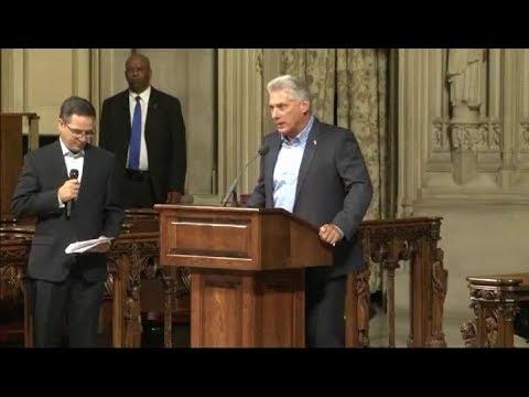 Miguel Díaz-Canel visitó iglesia Riverside en Nueva York