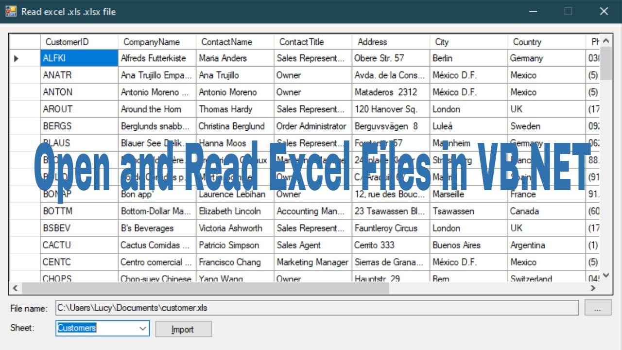 Vb Net Tutorial Open And Read Excel Files Import Excel File To Datagridview Foxlearn Youtube C read excel file into datatable with