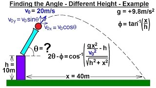 Physics - Mechanics: Projęctile Motion (4 of 4) Finding the Angle - Different Height: Example