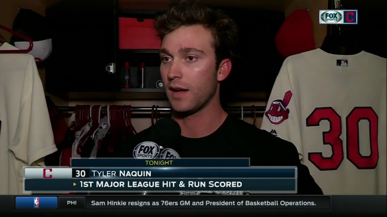 new arrival 012ab b2e69 Cleveland Indians rookie Tyler Naquin talks his first hit, getting a win in  debut vs. Boston