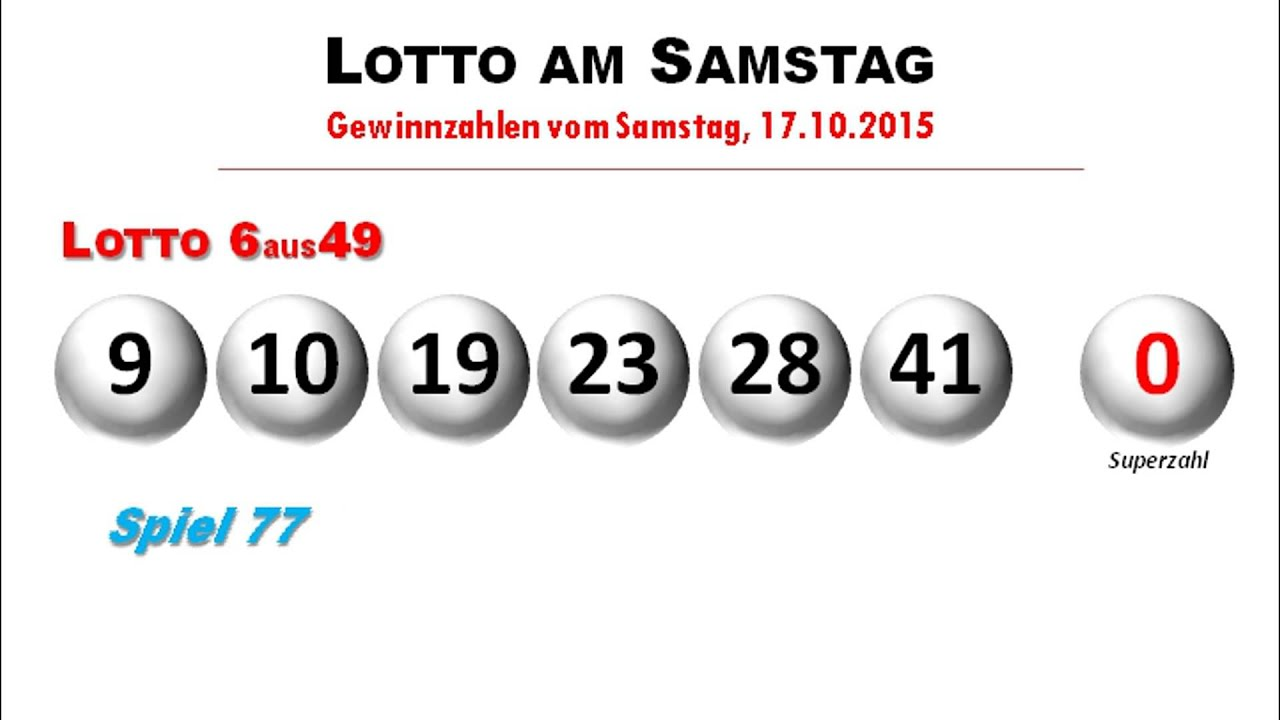 lottozahlen der ziehung im lotto am samstag youtube. Black Bedroom Furniture Sets. Home Design Ideas