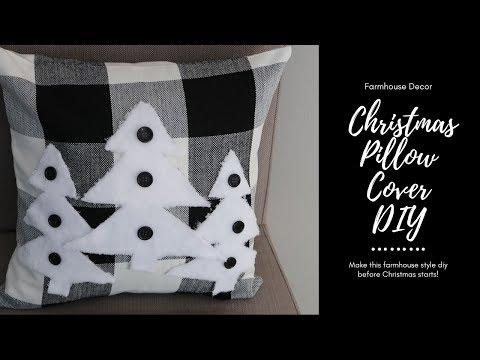 FARMHOUSE CHRISTMAS PILLOW COVER DIY   CHRISTMAS DIY   Inexpensive Craft