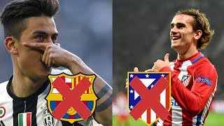 GRIEZMANN WILL LEAVE ATLETICO? BARCELONA NOT INTERESTED IN DYBALA. NEYMAR IS HAPPIER TO LEAVE BARCA!