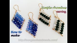 Simple rhombus shaped earring with crystal beads 379