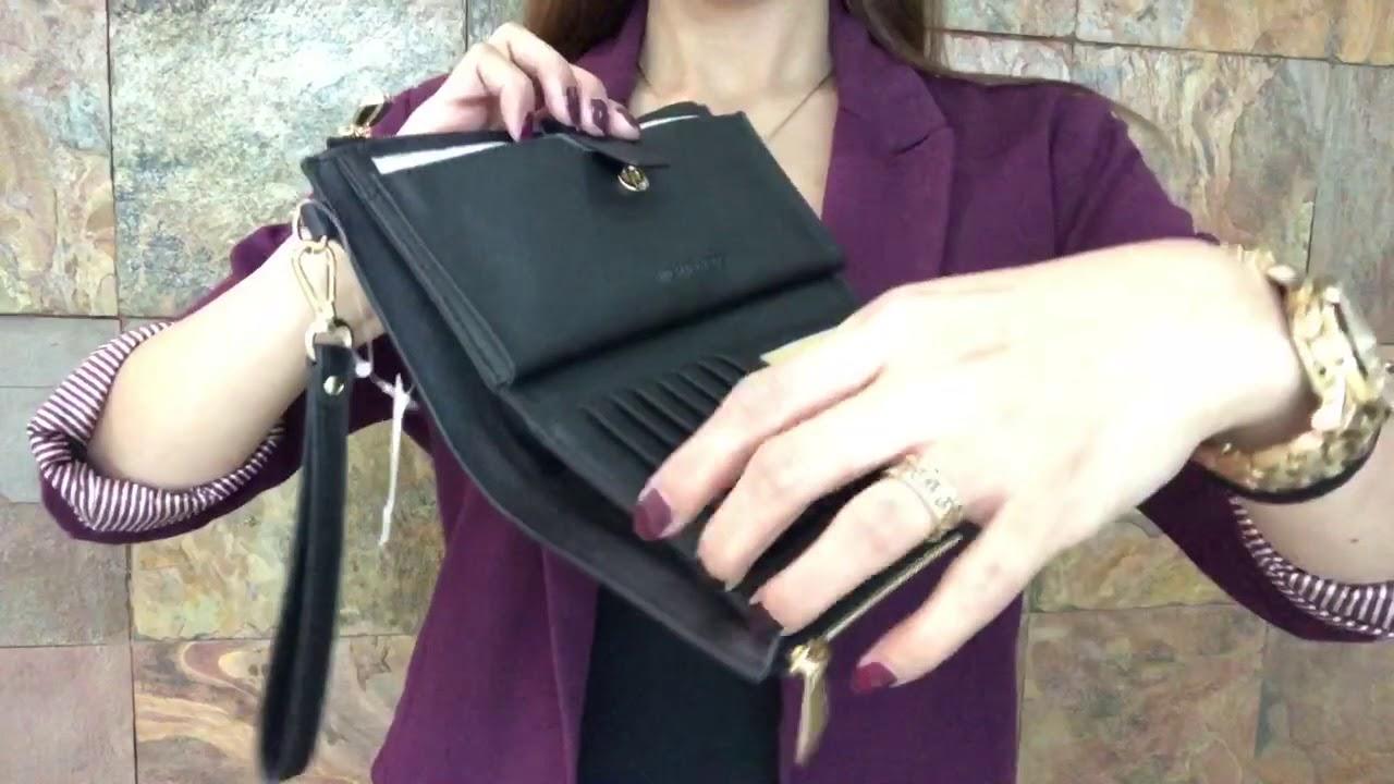 2cba6e220bd8 Michael Kors Jet Set Travel Black Leather Double Zip Wristlet 35F7GTVW9L