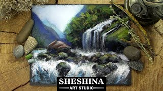 How to draw a Waterfall with soft pastels 🎨 REAL-TIME