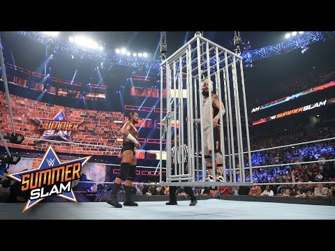Enzo Amore is locked in a Shark Cage high above the ring: SummerSlam 2017 (WWE Network Exclusive)