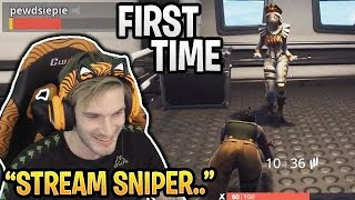 Pewdiepie plays Fortnite for the FIRST TIME and gets Stream Sniped (First Game)