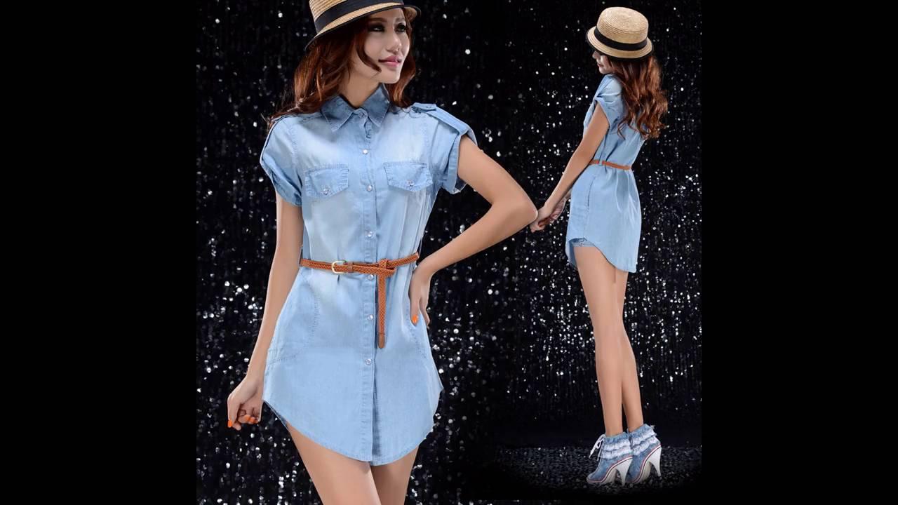Vestidos Casuales Cortos De Blue Jeans Vestidos De Coctel 2019