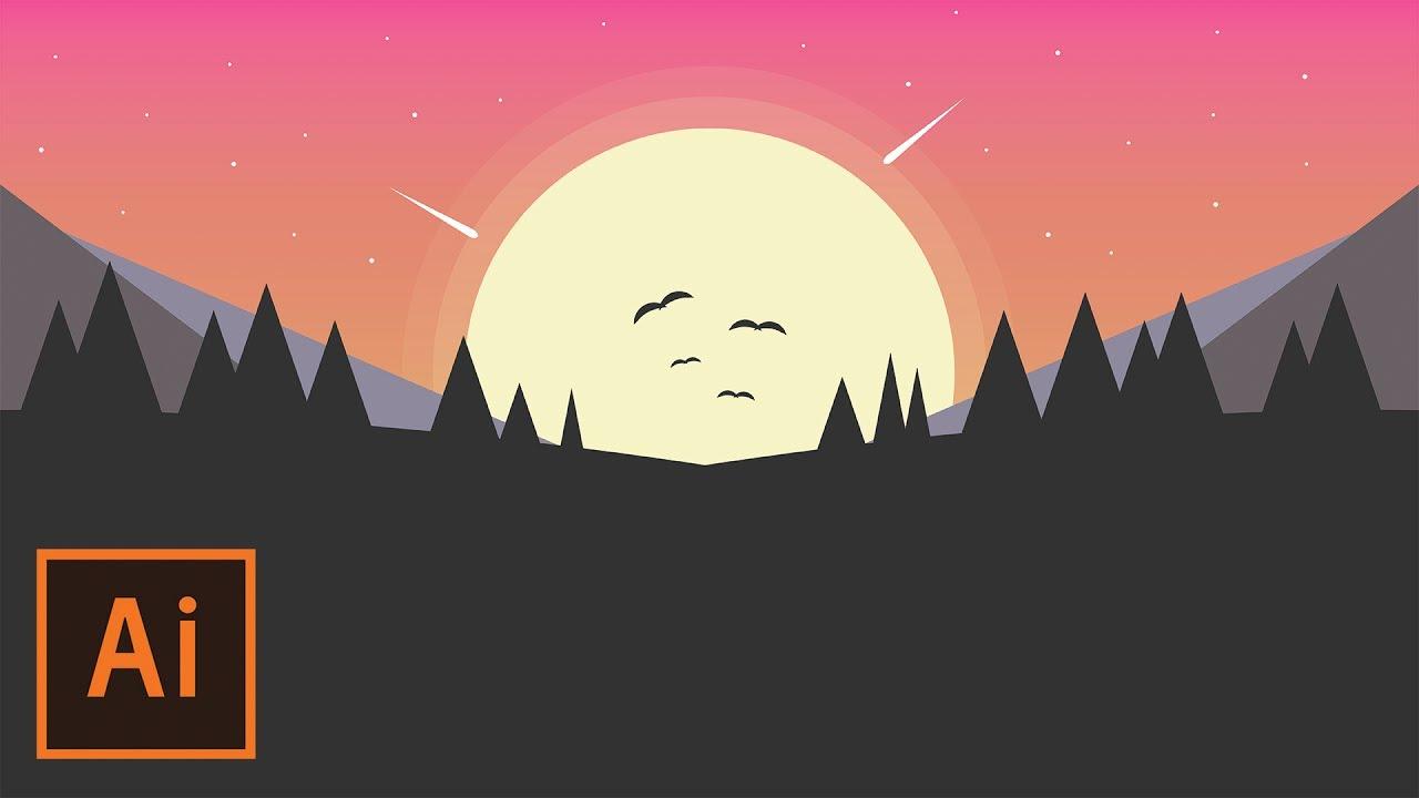 Landscape Illustration Vector Free: Simple Sunset Landscape Flat Design