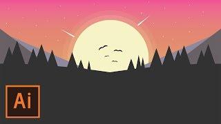 Illustrator Tutorial - Simple Sunset Landscape Flat Design (Illustrator Flat Design Tutorial)