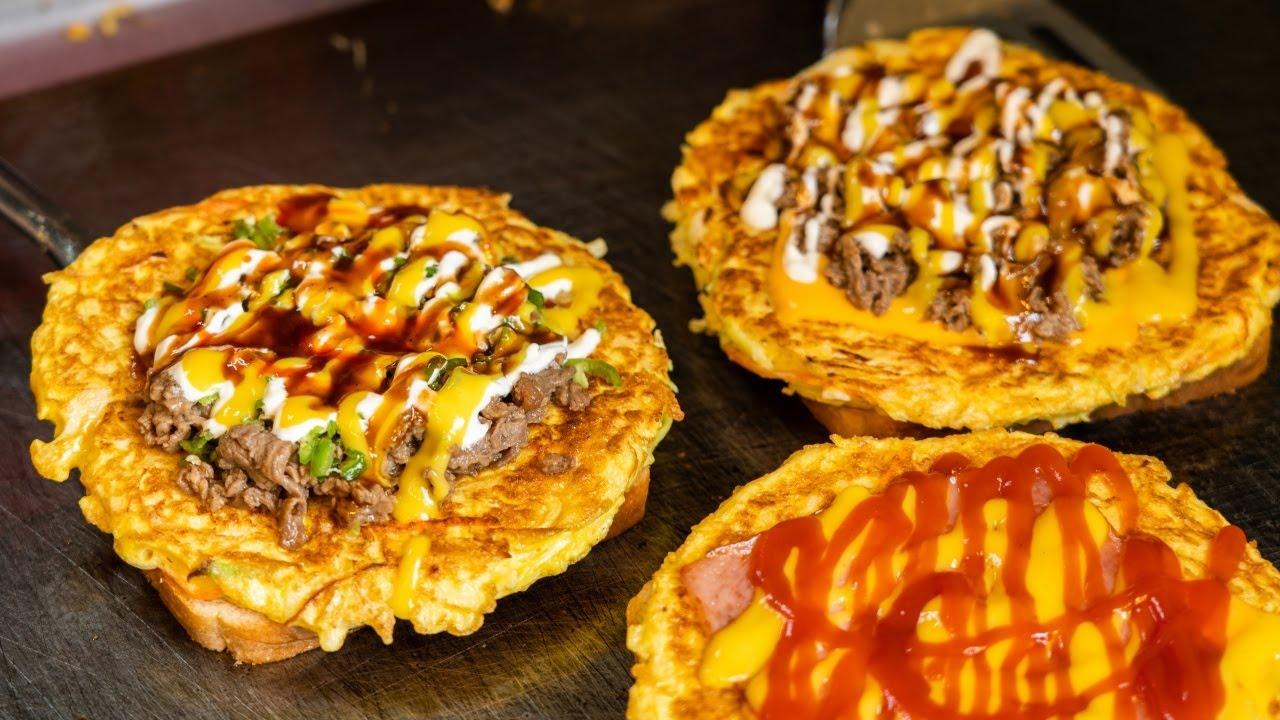 대왕 사이즈 동대문 토성 3단 토스트 Three layered toast / Korean street food