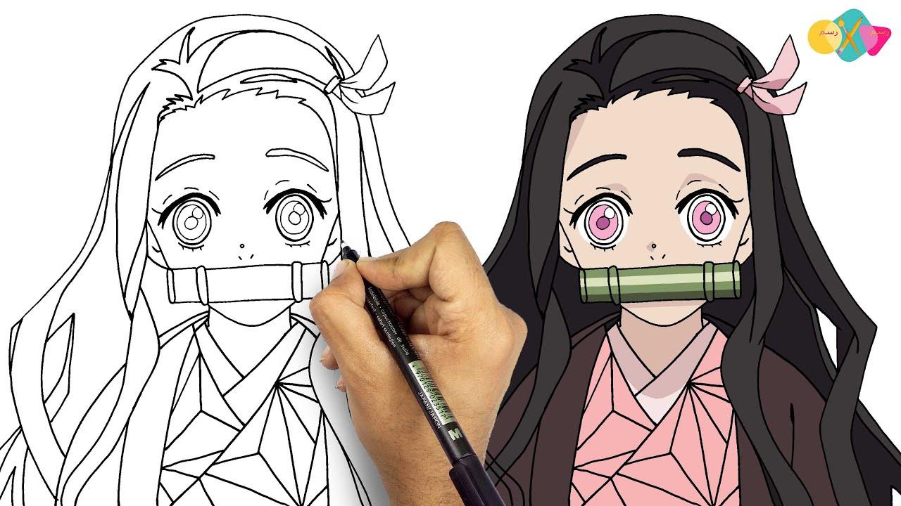 رسم نيزوكو من انمي قاتل الشياطين خطوة بخطوة || تعلم رسم انمي للمبتدئين