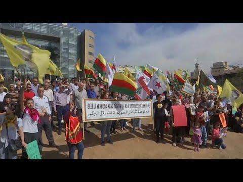 مظاهرة للأكراد أمام مكتب الأمم المتحدة في بيروت احتجاجا على عملية -نبع السلام-…  - 15:54-2019 / 10 / 11