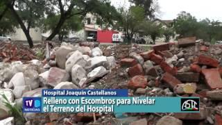 Relleno con Escombros para Nivelar el Terreno del Hospital