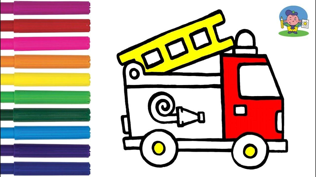 Как нарисовать ПОЖАРНУЮ МАШИНУ | Раскраска ПОЖАРНАЯ МАШИНА ...