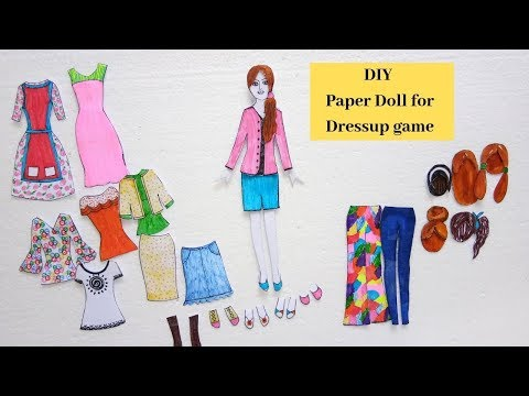 DIY Paper Doll For Dress up Game/ Handmade Paper Doll With Many Paper Doll Dresses Crafts