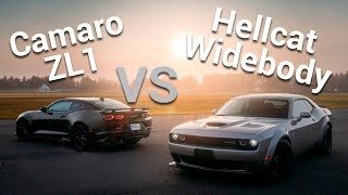 Dodge Challenger SRT Hellcat Widebody VS Chevrolet Camaro ZL1 - Frente a Frente | Autocosmos Video
