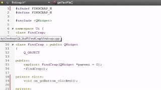 C++ GUI with Qt Tutorial - 11 - Coding the FindCrap Program