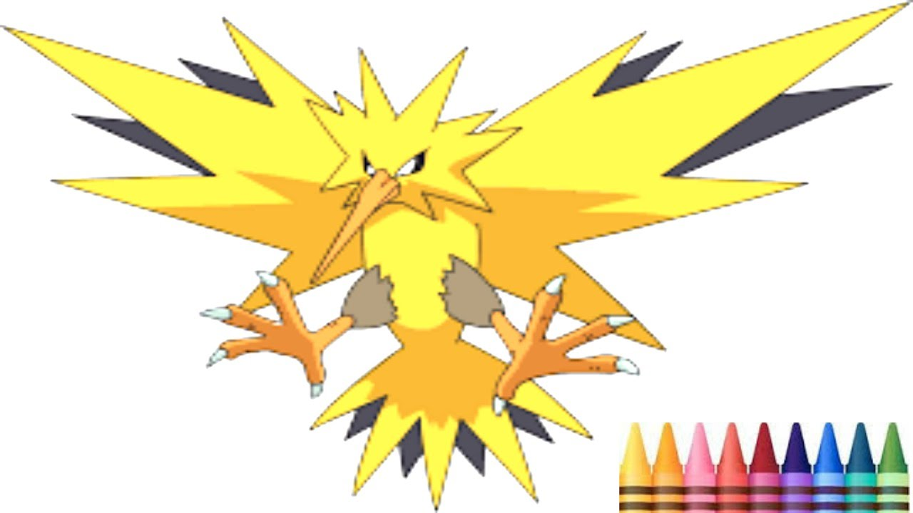 pokemon catch zapdos coloring video