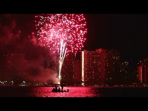 Sunset Fireworks Dinner Cruise on Port Waikiki Catamaran Honolulu Hawaii