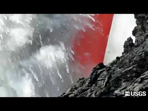 Fire Hose of Lava Flows From Kilauea Volcano into Sea 1 OF 2