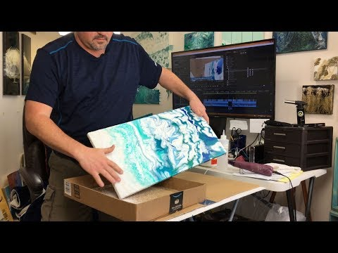 WHITE SAND! Coral Reef Or Ice Glacier - Fluid Painting White Sand & Acrylic Paint