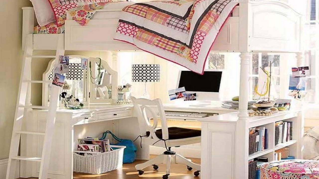 Design Loft Beds With Desk For Girls girls loft bed with desk youtube desk