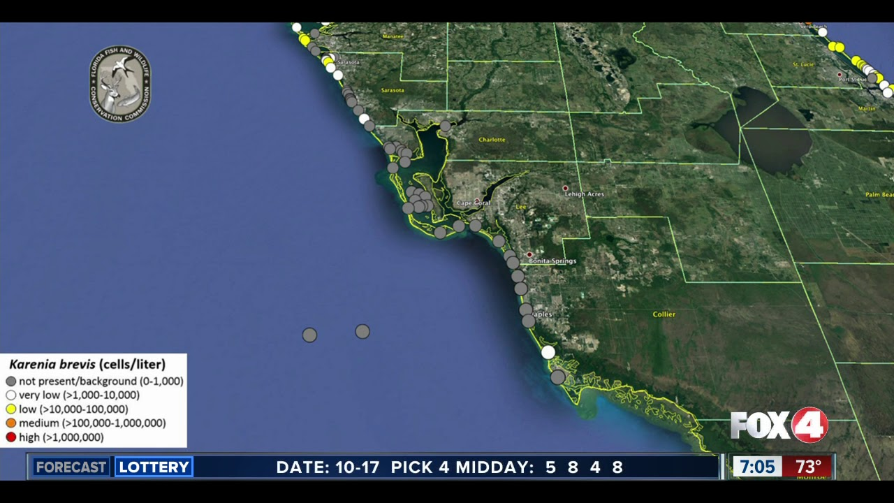 Map Southwest Florida.Red Tide Maps Show Few Spots In Southwest Florida Youtube