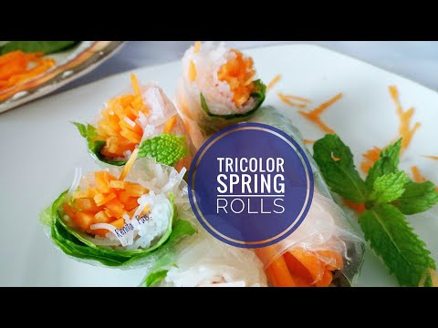 Tricolor rice paper rolls, spring rolls, cooking without fire, summer rolls,Independence day Special