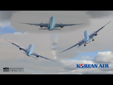 Wild Crazy Wing wave-Korean Air Cargo 777F-HL8005 delivery flight- MUST SEE