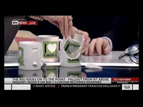 The ABS census people gift PVO and Kristina Keneally broken coffee mugs
