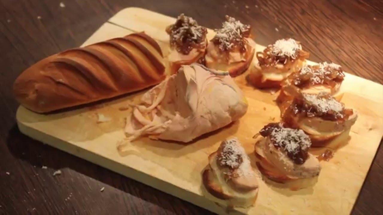 Oignons confit inratable canap au fois gras youtube for Fois gras canape