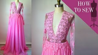 How To Sew A Deep V-Neck Lace Tulle Gown