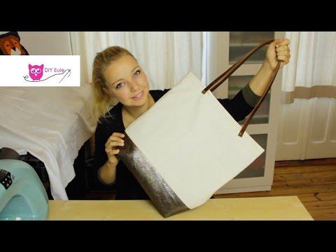 Shopper nähen mit Lederriemen und Nieten – DIY Eule