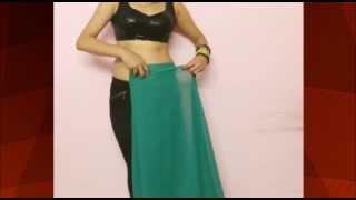 innovative semi dhoti saree draping hot diva saree wearing indo western