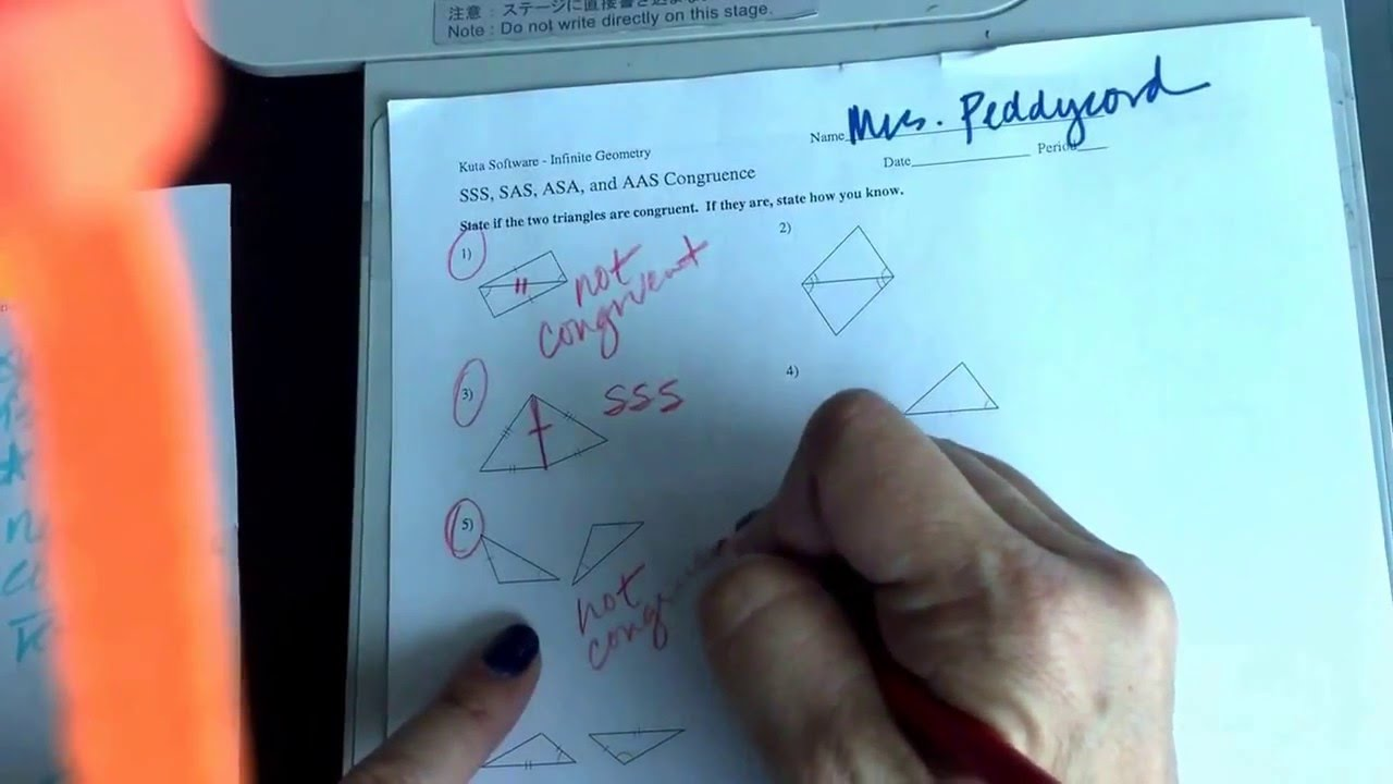 Geometry SSS SAS ASA and AAS Congruence Help YouTube – Kuta Geometry Worksheets