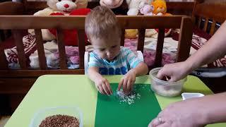 тимурка делает Аппликацию Осенние поделки из крупы и цветной бумаги Как сделать Грибочек из крупы