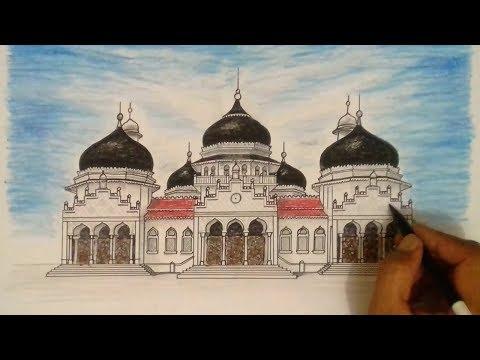 MASJID RAYA - BAITURRAHMAN - CARA Menggambar dan Mewarnai Masjid /Drawing Mosque
