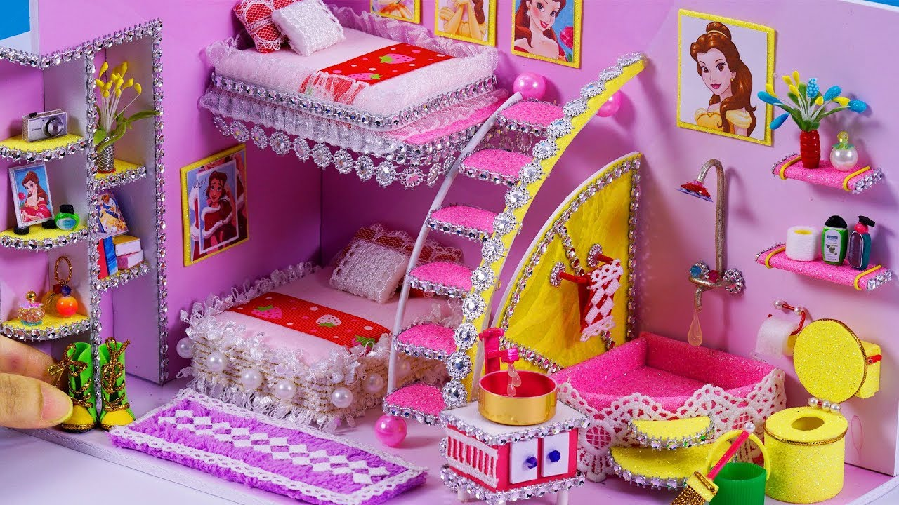 Miniature Children S Bedroom Room Box Diorama: DIY Miniatures Dollhouse Bathroom And Bedroom