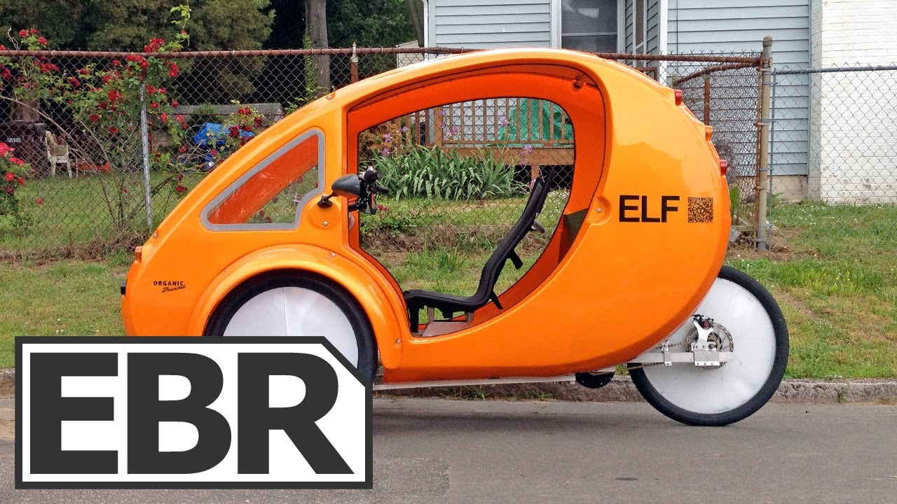 2013 organic transit elf video review solar powered electric bike with canopy and cargo holds. Black Bedroom Furniture Sets. Home Design Ideas