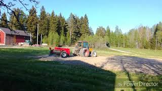 Reseeding a field with barley and grass. Valtra 700 and Junkka…