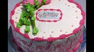 Оформление тортика Белково-маслянным кремом.