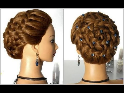 Плетение косы вокруг головы.