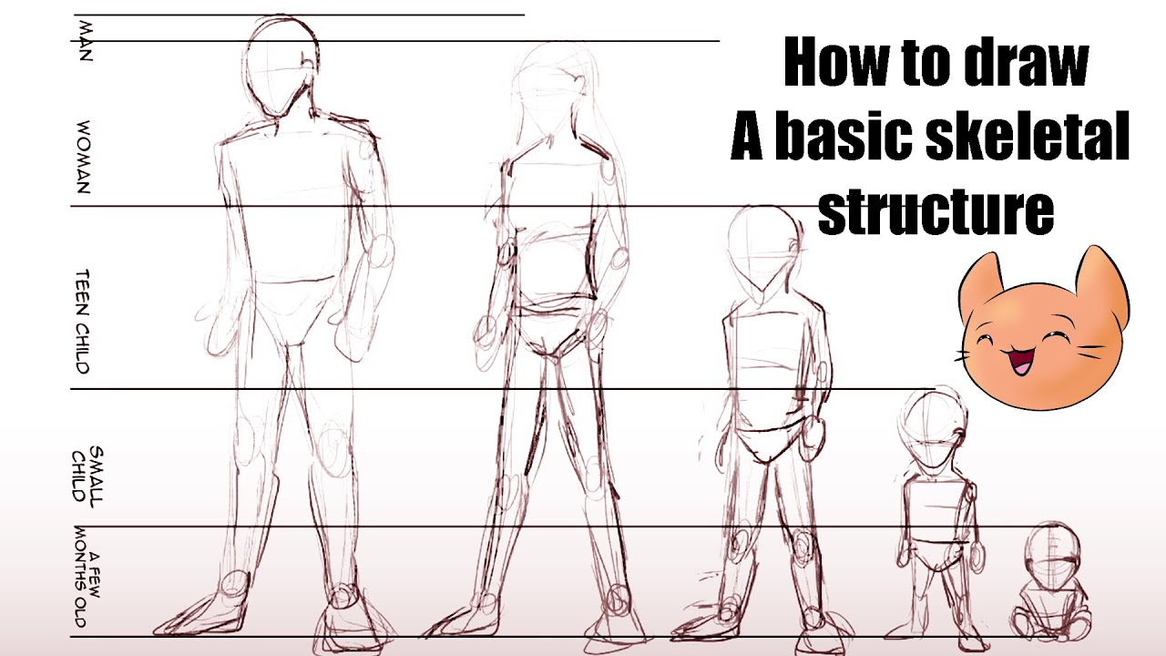 Drawing manga tutorial - Lesson 1: basic skeletal structure - YouTube